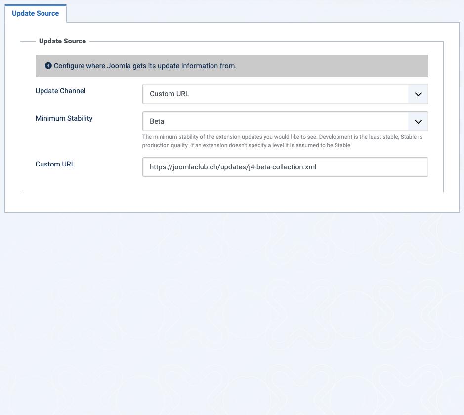 Joomla Beta Updateserver einrichten